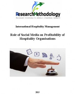 Role of Social Media on Profitability of Hospitality Organisations